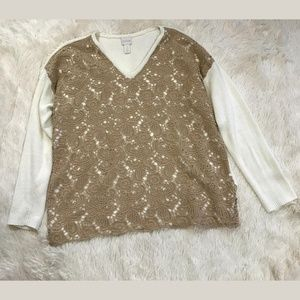 Chico's 2 Top Crocheted Lace Front Sweater Large
